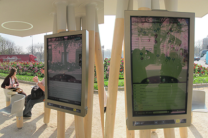 "Décodeur urbain, a digital display by J. C. Decaux. Promoted by the manufacturer as a ""giant smartphone"". Photos by Carola Moujan"