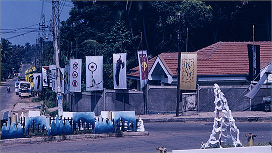 Artists Against War: Flag Project Exhibition in public space next to a main street, 2000.