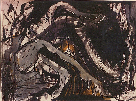 Long Necked Man, Acrylic on Paper, ca. 40 x 80 cm, 1992.