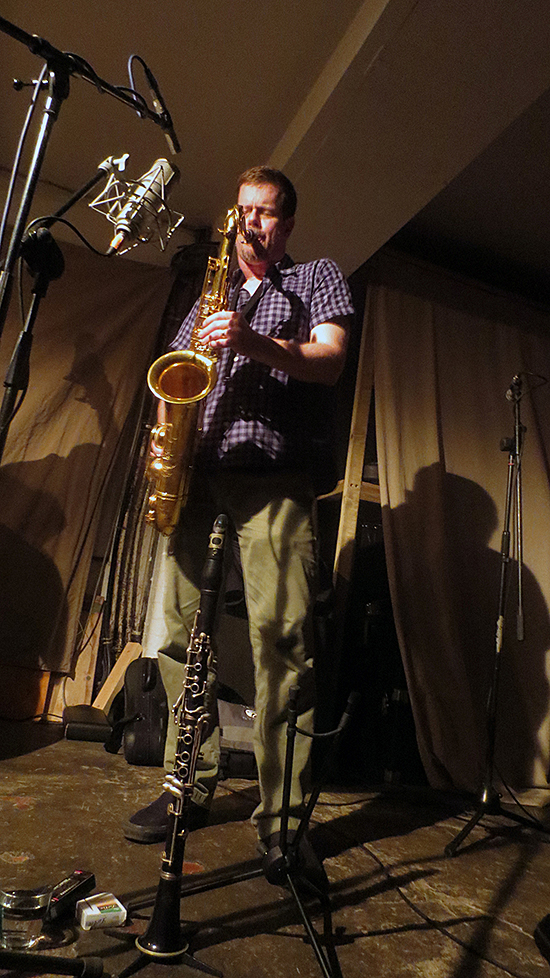 Ken Vandermark playing at Café Oto, September 2014 – Photograph: Haduhi Szukis