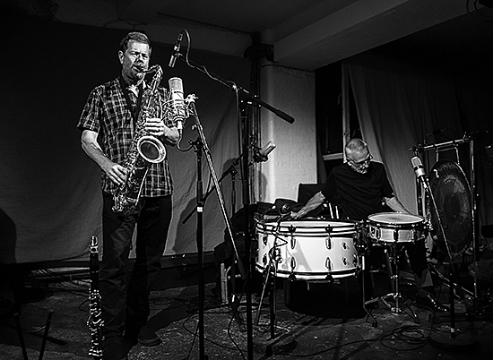 Ken Vandermark performing with Eddie Prévost at Café Oto, September 2014 – photograph courtesy of Dawid Laskowski