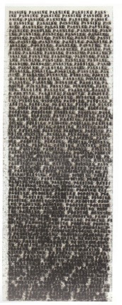 Figure 10. Glenn Ligon, Untitled (Passing), 1991, Oil stick, gesso, and graphite on canvas, 80 x 30 inches (203.2 x 76.2 cm), Collection of Susan and Michael Hort