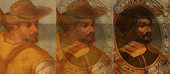FIG 8. An overlaying analysis on morphology for two portraits of Cervantes