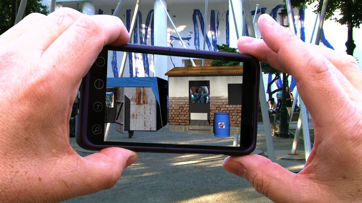 Figure 2. John Craig Freeman, Water wARs viewed through smart phone at the Giardini, 2011. Reproduced with permission from the artist.