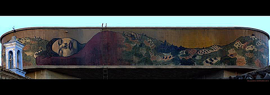 FIG 2. Dulcinea dreams La Mancha. Mural painted by Milu Correch on the water deposit of El Toboso in September 2013