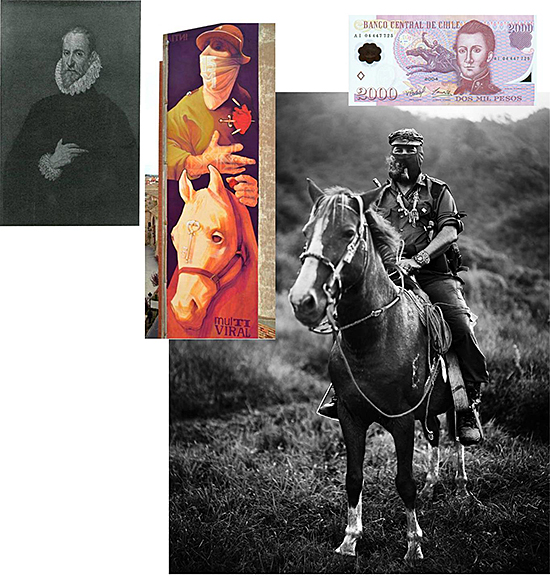 FIG 5 . INTI's Don Quixote and visual references to Doménikos Theotoképoulos (left, painting attributed to the painter by Camón Aznar), and to portraits of subcomandante Marcos (right down) and Manuel Rodríguez (right up)
